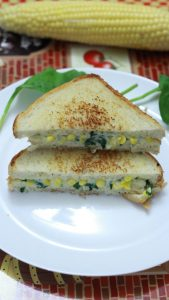 cheesy spinach and corn sandwich