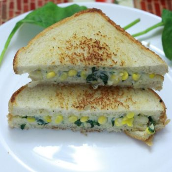 Cheesy Spinach and Corn Sandwich Recipe